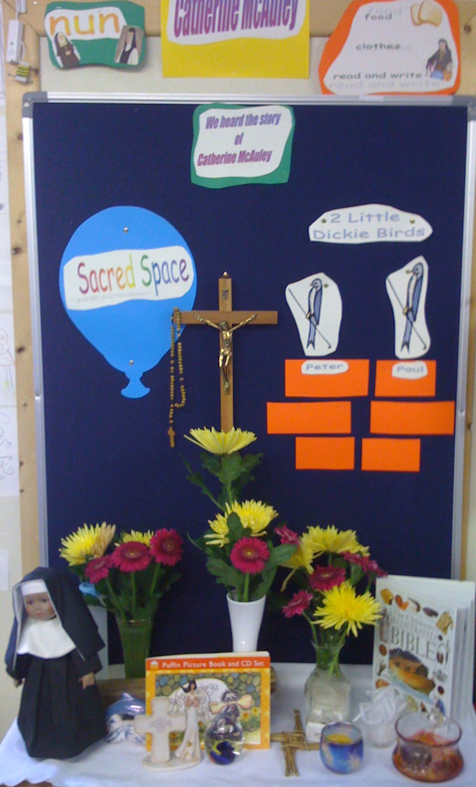 You can have a sacred space in your classroom or in the common areas